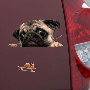 Image 3 - 面白い 3Dパグ犬時計カタツムリ車の窓デカールかわいいペット子犬ラップトップのステッカーpvcステッカー車の装飾アクセサリー