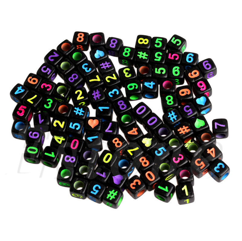 Купить 100 шт diy случайный алфавит/буквы акриловые кубические бусины