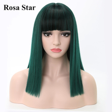 Rosa Star Straight Synthetic Wigs With Bangs For Heat Resist