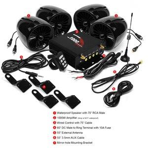 Image 2 - Aileap 1000W מגבר Bluetooth אופנוע סטריאו 4 רמקולים MP3 אודיו FM רדיו מערכת עבור אופנועים/טרקטורונים/UTV /סירת (שחור)