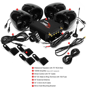 Image 2 - Aileap 1000W amplifikatör Bluetooth motosiklet Stereo 4 hoparlörler MP3 ses FM radyo sistemi için motosiklet/ATV/UTV /tekne (siyah)