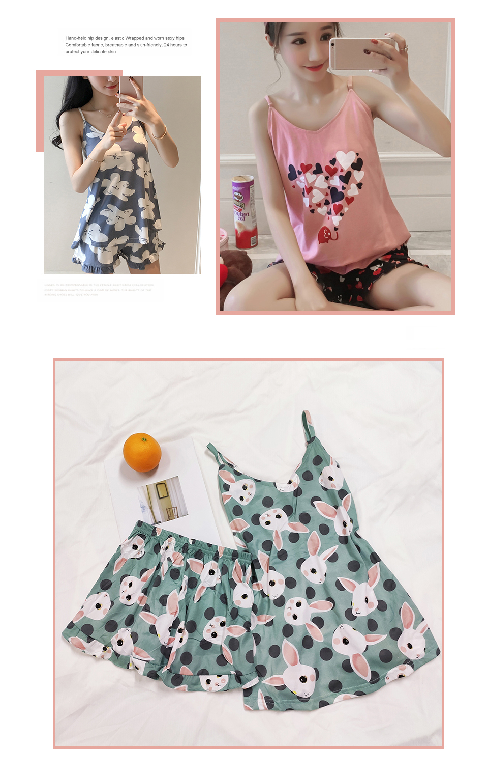 FallSweet Summer  Print Pajama Sets for Women Cotton  Sleepwear  Girls Sleeveless Sexy Lingerie Two Piece Set