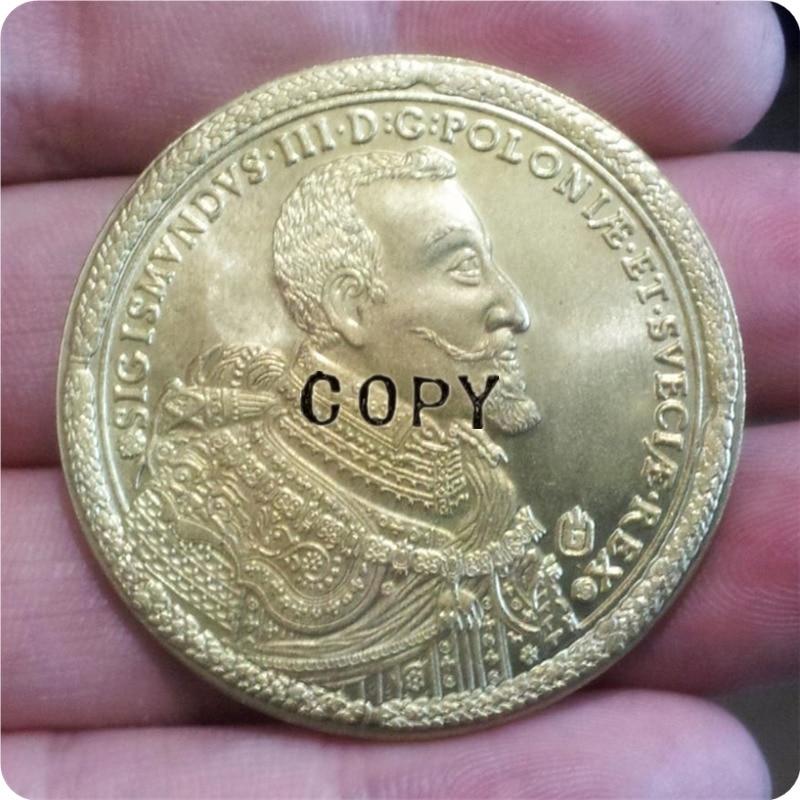 Poland-100-DUKAT-1621-SIGIS-III-Gold-brass-RARE-beautiful-Copy Moeda