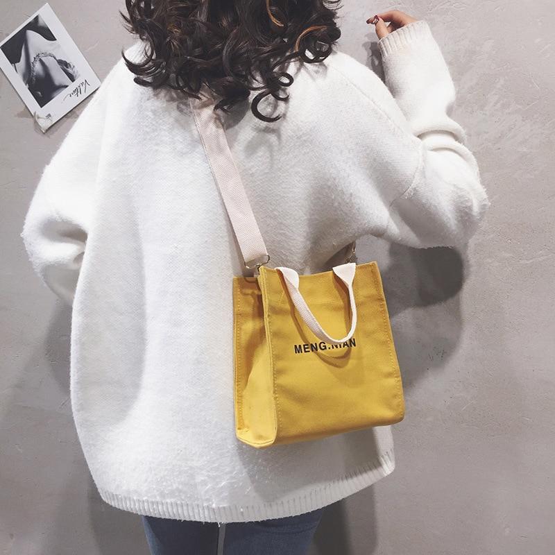 Canvas Bag Women's 2020 New Style Korean-style INS GIRL'S Handbag Trendy Letters Toth Crossbody Bag(China)