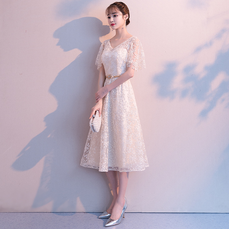 Small Evening Dress Women's 2019 Summer New Style Banquet Birthday Party Dress Debutante Party Dress Slimming Nobility
