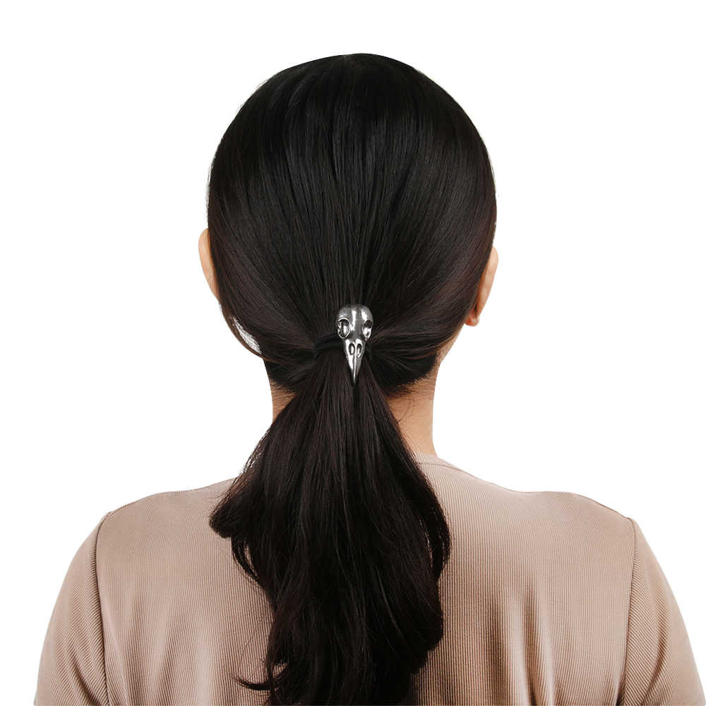 1PC חם אופנה חידוש פאנק רייבן גולגולת ליל כל הקדושים סרט גותי מתכת אלסטי גומייה לשיער חבל Hairdress שיער אבזרים