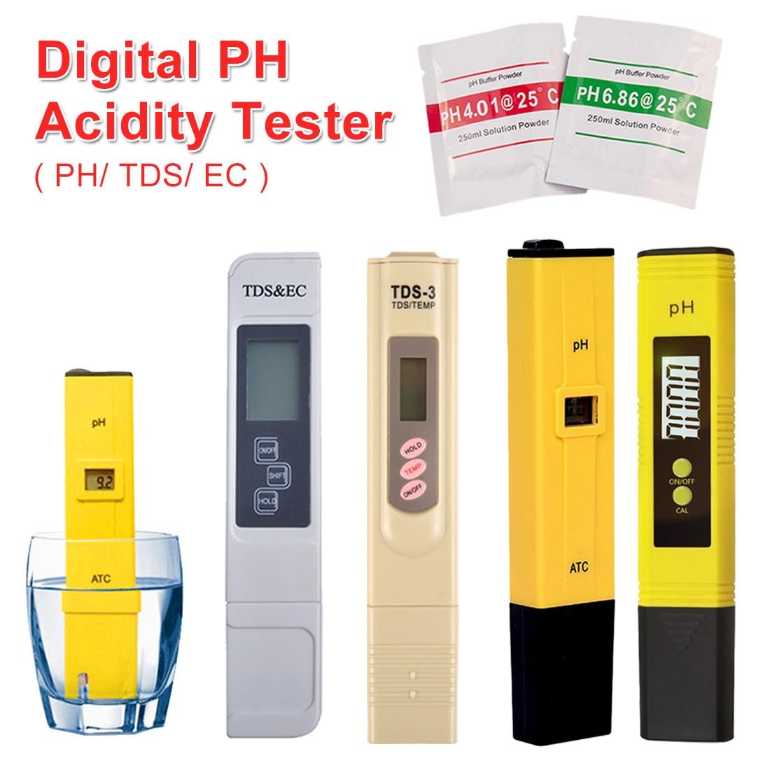 PH /TDS/ EC Tester Pocket Pen Type Water PH Meter Digital Tester 0.0-14.0 PH /0-9990ppm For Aquarium Pool Water Laboratory