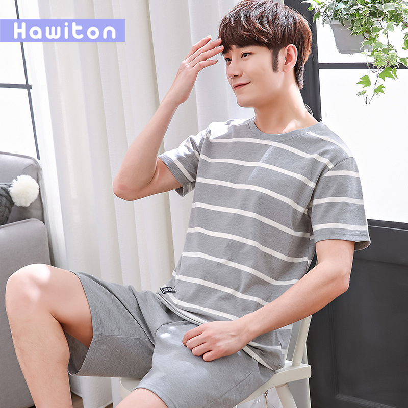 Hawiton Outwear Pijama Men's Cotton Summer Casual Short Top-Pant Leisure