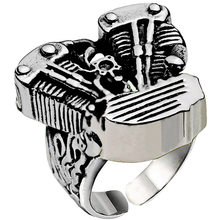 Motorcycle Engine Biker Ring FingerBand Geometric Adjustable Stainless Steel Finger Ring Gothic Punk Hip Hop Rock Ring(China)