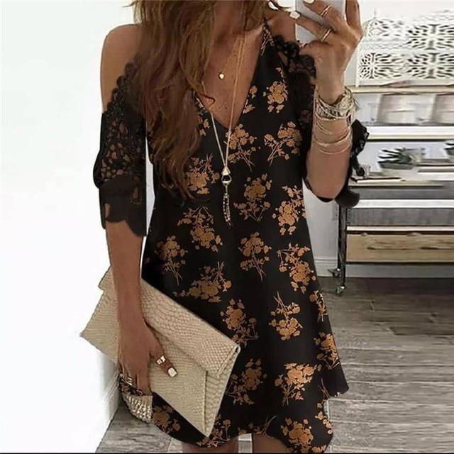 Summer Vintage Floral Printed Dresses Women Casual Off Shoulder Half Sleeves Lace Dress Hollow Out V-Neck Sling Party Dresses 5
