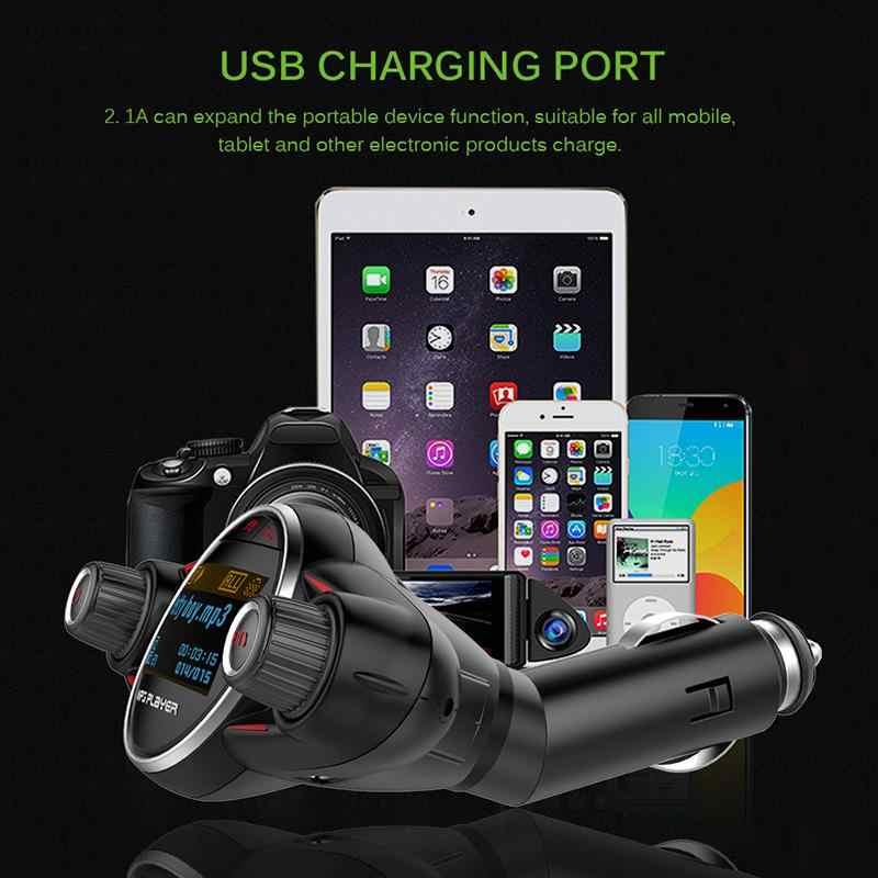 Gorący Onever 1.3 calowy ekran LCD nadajnik FM zestaw słuchawkowy do samochodu samochód odtwarzacz Mp3 Modulator FM Bluetooth 2.1A podwójna ładowarka USB
