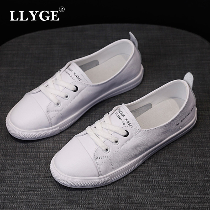 Women's Genuine Leather Sneakers Ladies White Lace Up Women Casual Comfortable Flat Shoes Vulcanized Woman Summer Flat Shoe