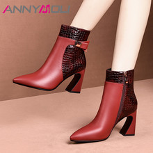 ANNYMOLI Winter Ankle Boots Women Natural Genuine Leather Extreme High Heel Short Boots Snake Print Zipper Shoes Ladies Fall 39 цена