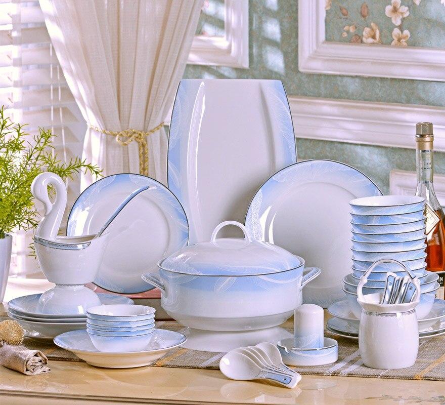 Ensemble de vaisselle maison créative Jingdezhen céramique européenne os porcelaine vaisselle bol assiettes simples et fraîches