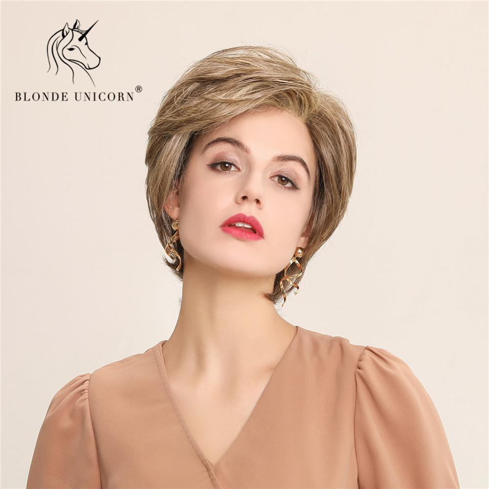 BLONDE UNICORN Fluffy Pixie Cut Short Front Lace Hair Wigs Blonde Brown Blend Human Hair and Synthetic Wig For Women Daily Use