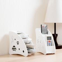 DIY wooden Desk Remote Control Holder Storage Box TV DVD VCR Step Mobile Phone shelf rack Stand stationery organizer home decor