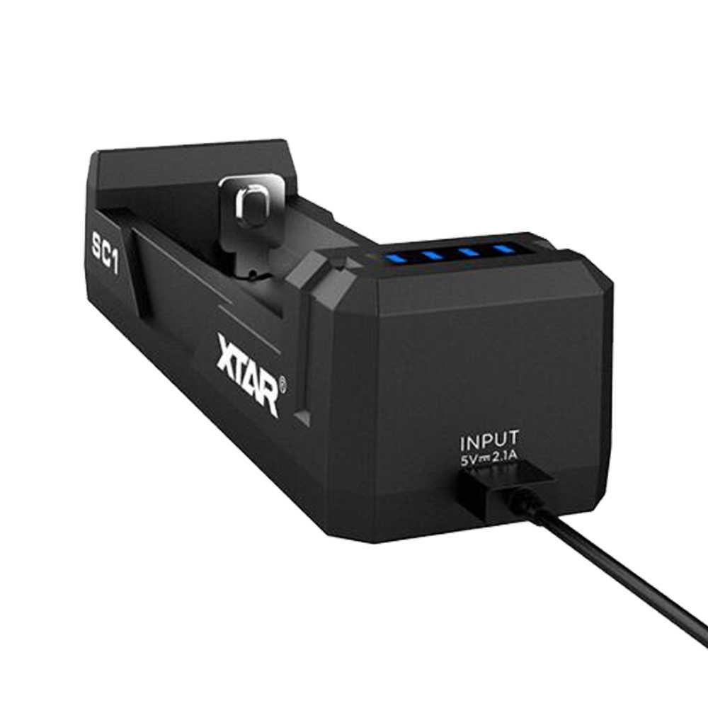 XTAR SC1 شاحن يو اس بي 2A شحن سريع لل 5V USB الطاقة قابلة للشحن 18700/22650/25500/26650// 20700/21700/18650 شاحن بطارية