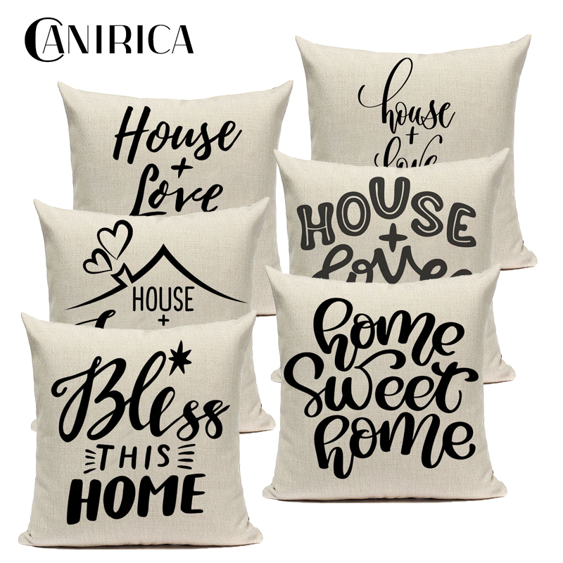 CANIRICA Home&Love Pillow Cover Sofa Cushions Home Decor Cushion Cover For Living Room Bedroom Linen Letter Housse De Coussin
