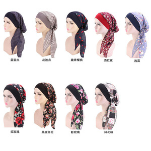 Vintage Wide Band Women Cotton Head Hair Chemo Cap Head For Hair Loss Patients Girl Night Sleeping Cap Head Wrap Hair Styling