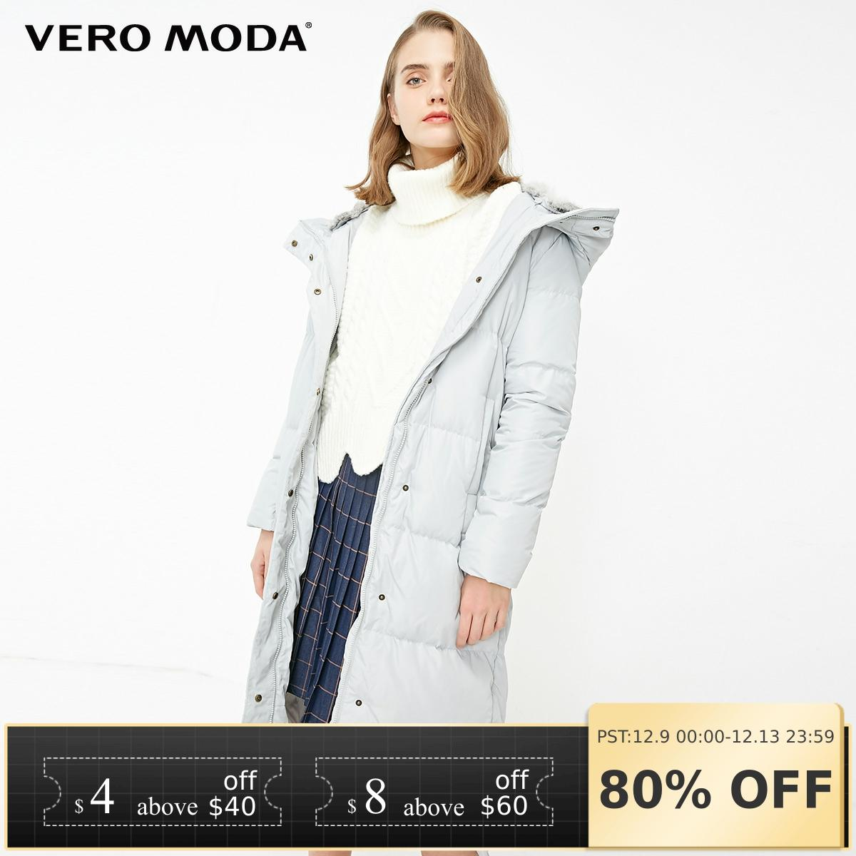 Vero Moda New Detachable Rabbit Fur Hooded Long Down Jacket Women | 318312503