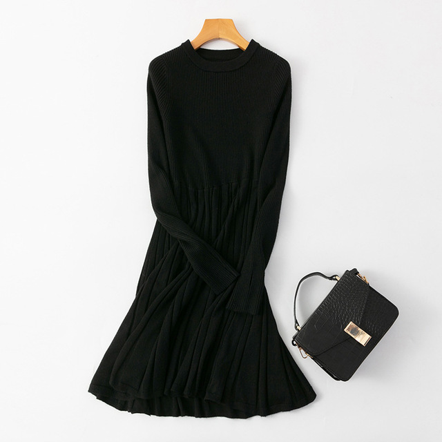 Long Knit Maxi Sweater Dress  A Line Ribbed  Pullover 3