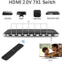 7X1 HDMI Switch HDMI 2.0 4K 60Hz HDCP 2.2 3D HD Video Converter for Xbox One PS3 PS4 Smart TV Mi Box Computer PC To TV Projector