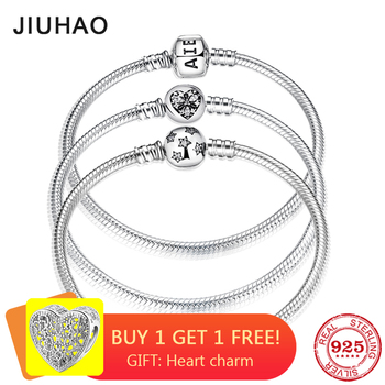 New 925 Sterling Silver Bracelets Round shape Snake Chain For Womens Accessories Fashion Jewelry Valentine