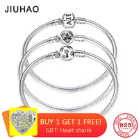 New 925 Sterling Silver Bracelets Round shape Snake Chain For Womens Accessories Fashion Jewelry Valentine's Mother's Day gift