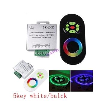 DC12V-24V 5key bezprzewodowy Panel dotykowy RF ściemniacz RGB pilot 18A kontroler RGB dla 3528 5050 listwy RGB led Light tanie i dobre opinie HCSOYES ROHS 110-240 v 433 92MHz 5year 3528 5050 RGB LED strips