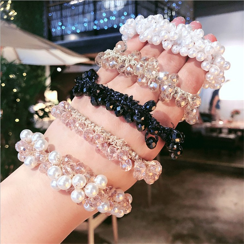 Rubber Band Rope Elastic Girls Scrunchie Ponytail Holder Pearl Beads Women Hair Bands Ties Accessories For Women