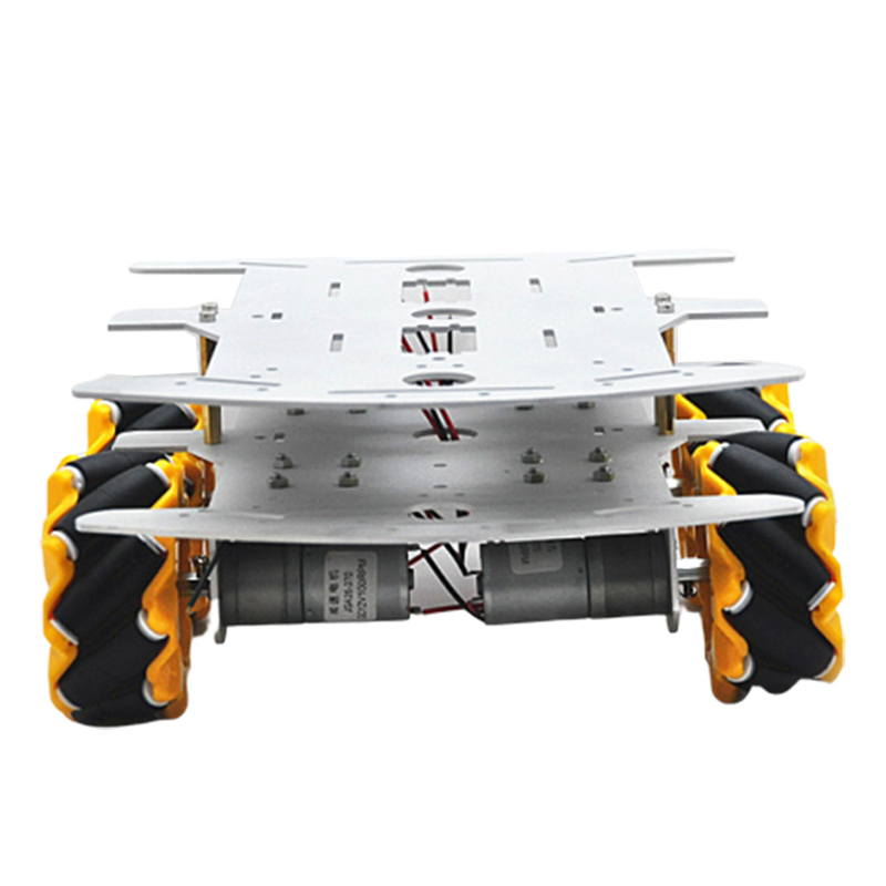D-32 DIY DDouble Decker Smart RC Robot Car Chassis Base With 80MM Omni Wheels DC 12V 1:46 Motor RC Robot Car Parts