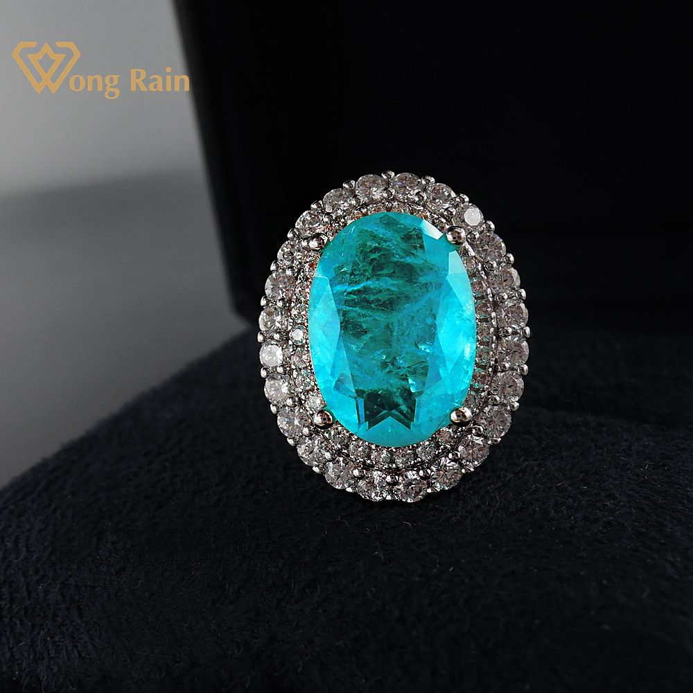 Wong Rain Vintage 925 Sterling Silver Paraiba Tourmaline Gemstone Wedding Engagement Diamonds Ring Gift Fine Jewelry Wholesale