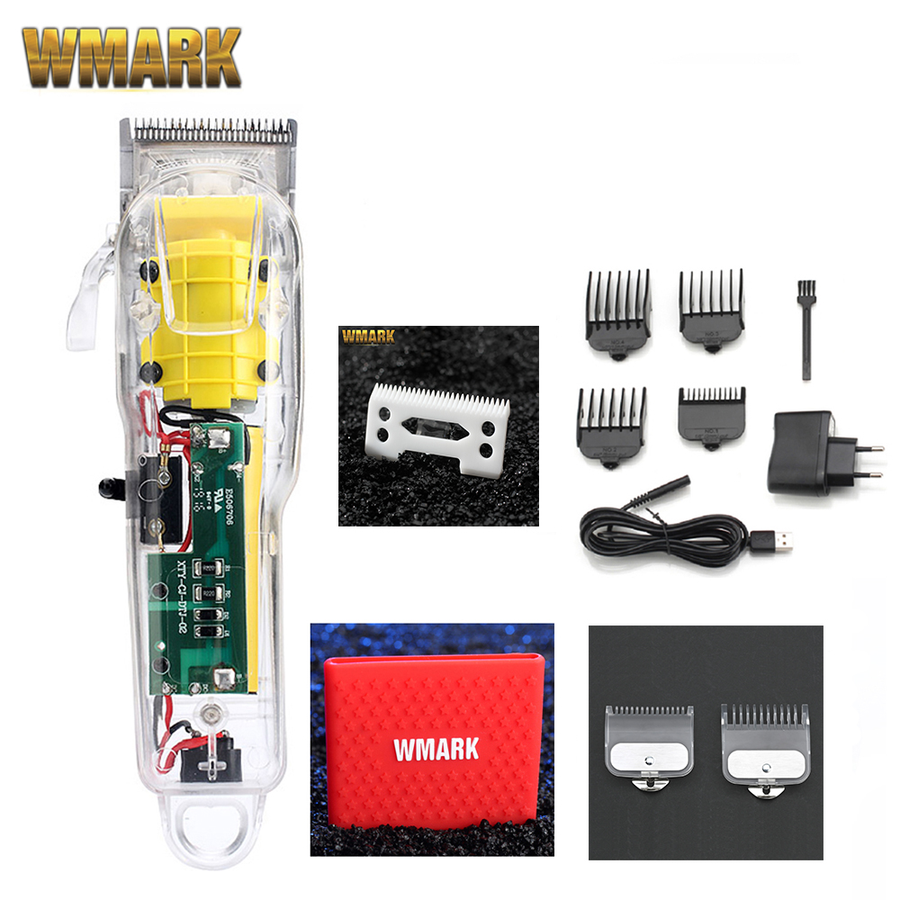 WMARK Hair-Clipper Transparent-Cover 2200-Battery NG-108 Rechargeable New-Model White