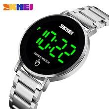 SKMEI dijital saat spor erkek saatler lüks marka paslanmaz çelik erkek kol saati led ışık ekran elektronik saat bilezik