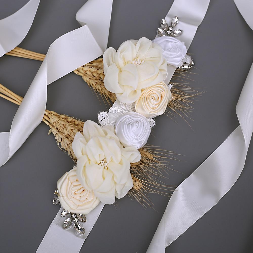 TRiXY S320 Wedding Belt for White Dress Belt Fancy Belt for Girls Wedding Floral Sash Belts Beads Flower Belt for Girls Dresses