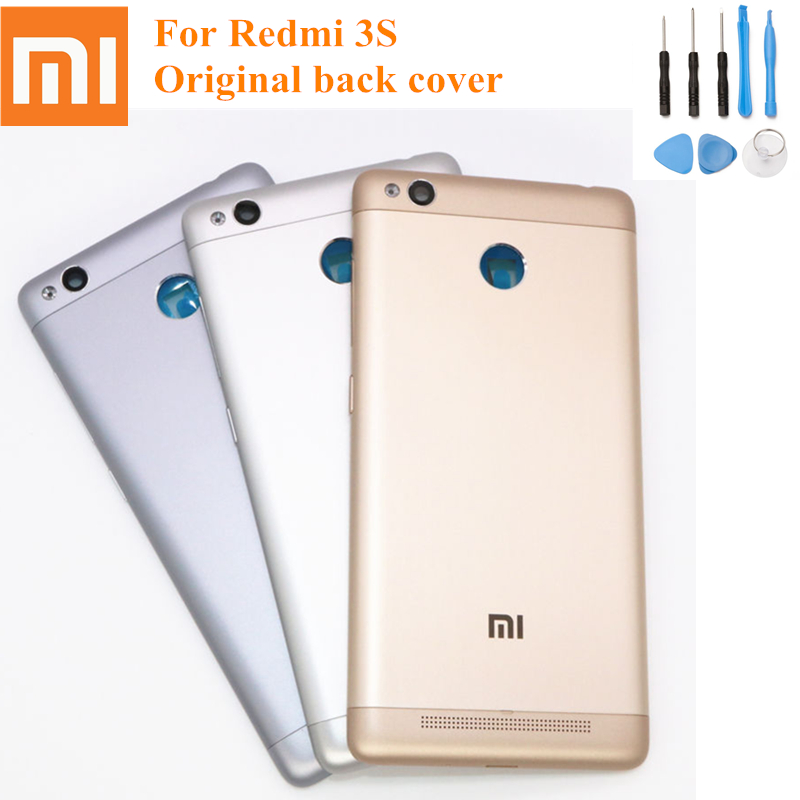 Original XiaoMi Replacement metal <font><b>Battery</b></font> Back <font><b>Cover</b></font> Door For Xiaomi <font><b>Redmi</b></font> <font><b>3S</b></font> Rear Housing Protective Phone Back+Free tools image
