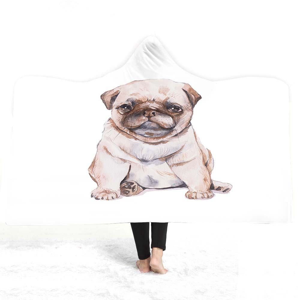 Pets Hooded Blanket For Home Travel Picnic Cartoon 3D Printed Soft Wearable Portable Warm Throw Adults Kids