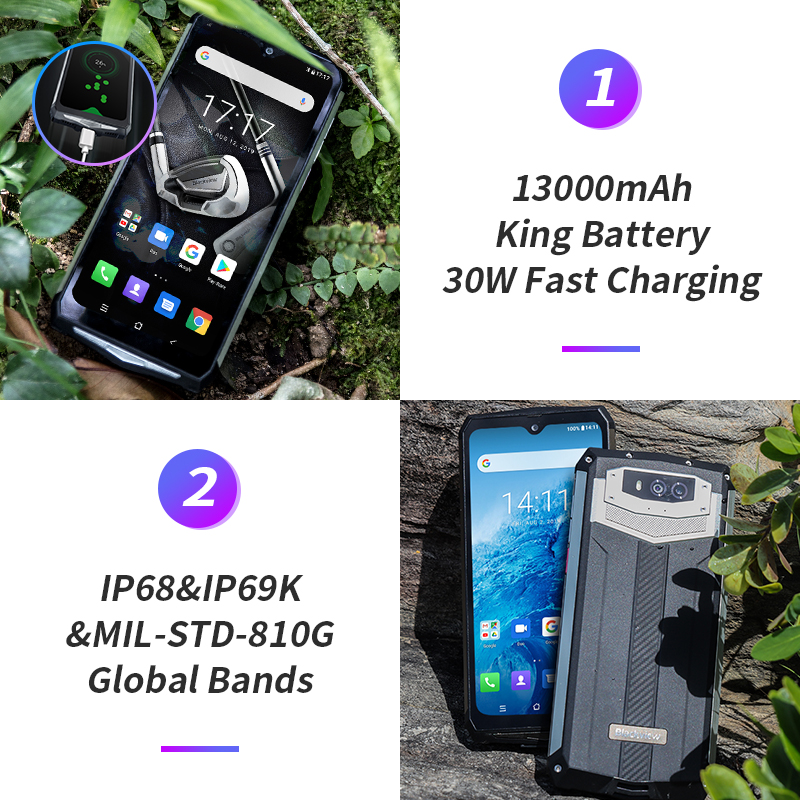 Blackview BV9100 6.3 ''FHD + 13000mAh IP68 Smartphone robuste 4GB 64GB Helio P35 Octa Core Android9.0 téléphone portable 30W Charge rapide - 3