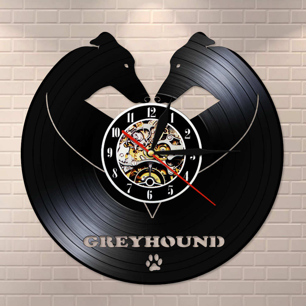 Greyhound Wall Clock Vintage Vinyl Record Whippet Art Greyhound Animal Dogs Pets Companion Home Decor Watch Housewarming Gift