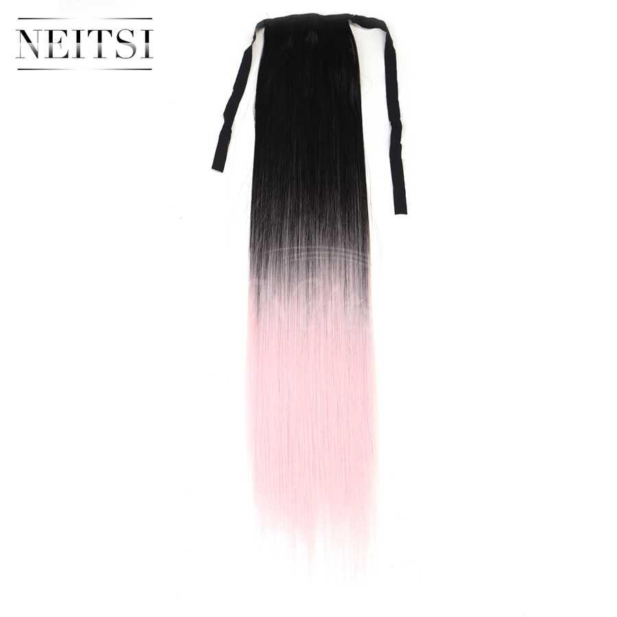 Neitsi 22 ''1 PC Sintetis Klip Di Serut Palsu Lurus Pita Ekor Kuda T-L.pink # Warna Tahan Rambut Ekstensi