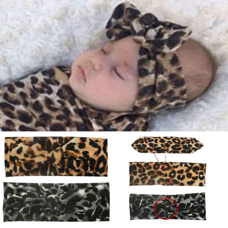 Diadema para recién nacido con estampado de leopardo para niñas, niñas, de nailon, cinta para el pelo
