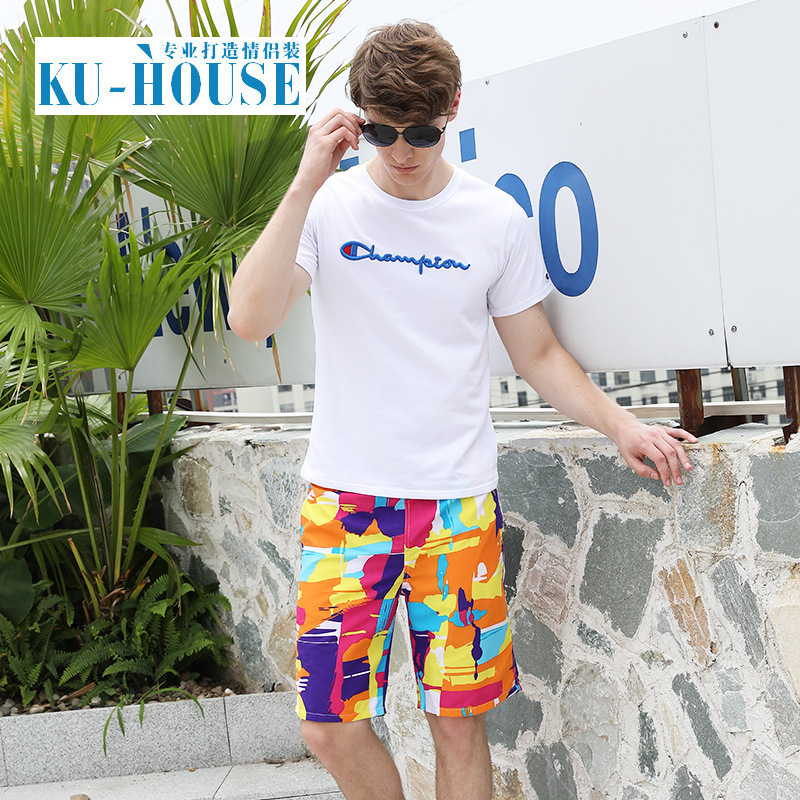 Couples Beach Shorts Summer Shorts Men Quick-Dry Loose And Plus-sized Short Flower Large Trunks Holiday Swimming Shorts Fashion