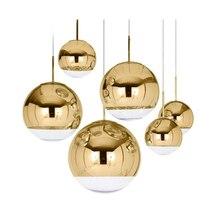 Nordique verre miroir boule lustre éclairage or argent verre boule lampes cuisine salon chambre lustre lustres en verre