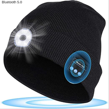Wireless Bluetooth Hat Headset with Led Light Music Call Knitted Hat Outdoor Lighting Wild Fishing Cycling Headphones with Mic