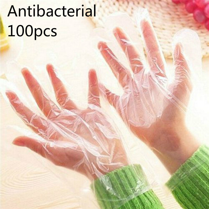 100 Pcs Disposable Sanitary Plastic Glove Restaurant Home BBQ Cook Kitchen Food Protective Safety Gloves Real Stocks