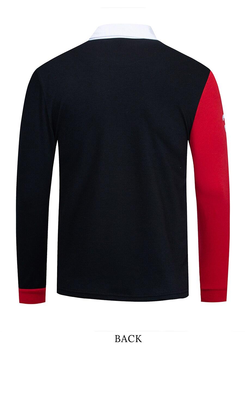 Fredd Marshall Long Sleeve Patchwork Polo Shirt