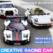 Moc Technic samochodzik zabawka biały klasyczny Sport prędkość Cabriolet samochodowe klocki budowlane zestawy klocków boże narodzenie Model zabawki dla dzieci prezenty
