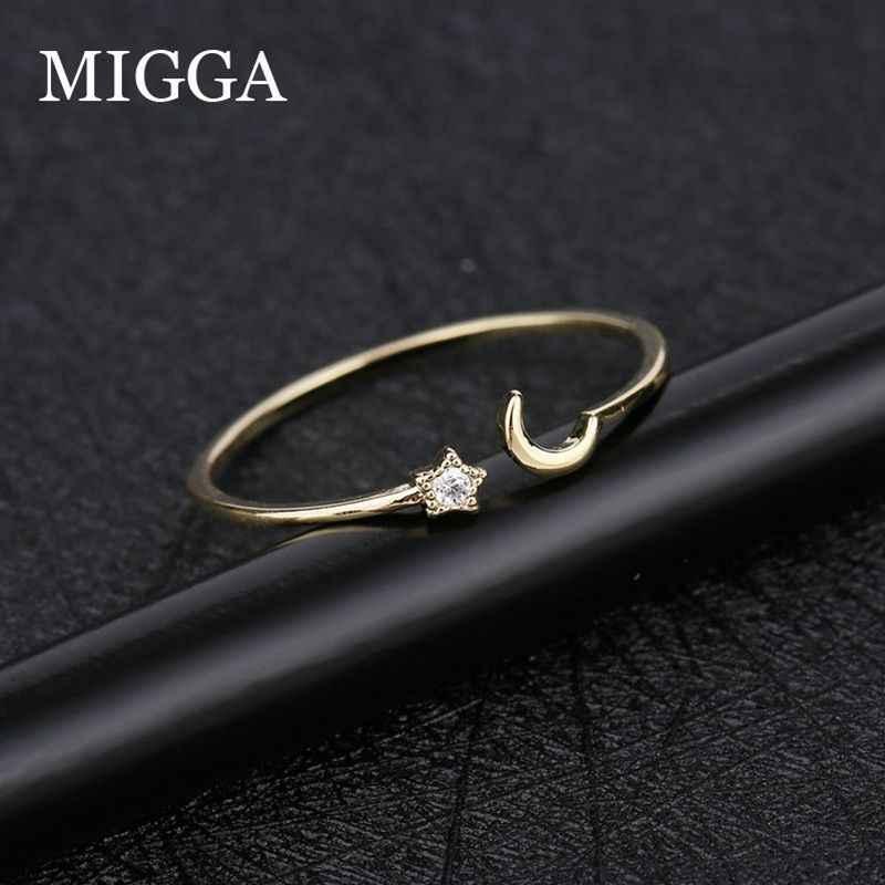 MIGGA Mini Zircon pierre étoile lune Bague pour femmes filles ouverture conception couleur or CZ cristal Bague bijoux