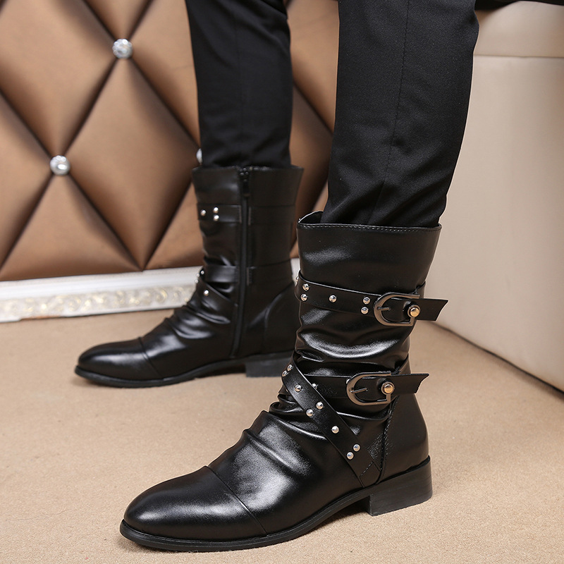 Shoes Long-Boot Motorcycle Black Genuine-Leather Botines Zapato England Punk Fashion