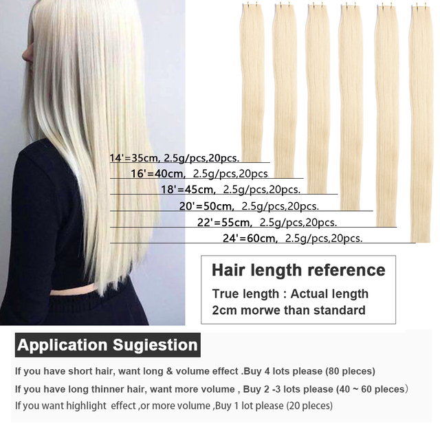 Tape In Human Hair Extensions Skin Weft Straight Remy Hair 20 / 40pcs Double Sided Tape Hair 14 16 18 20 22 24 26 INCH Bigsophy 3